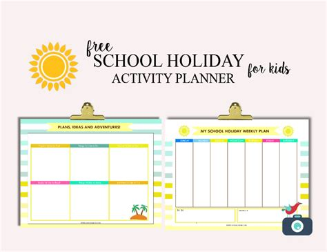 printable summer holiday planner free school holiday activity planner for kids