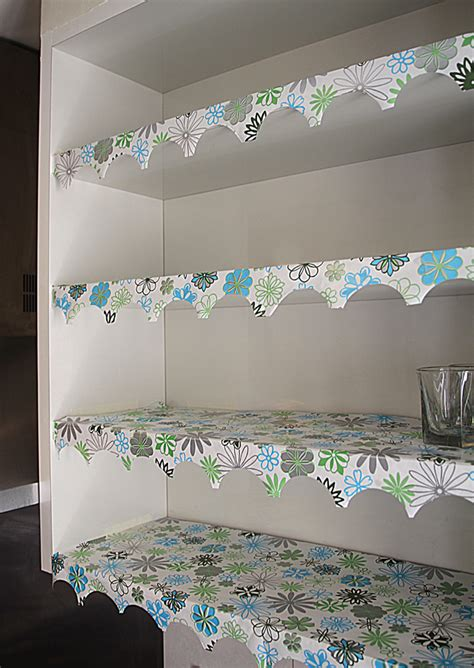 Kitchen Cabinet Shelf Paper Diy Shelf Paper With Lovely Edging On Pantries Shelves And Shelf Liners