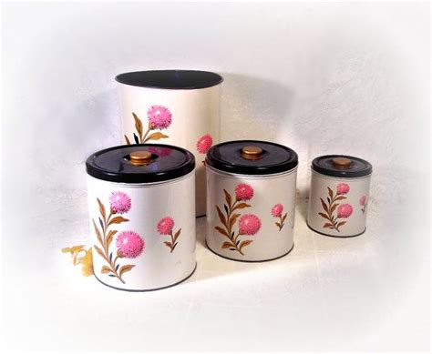 vintage decoware kitchen canister set 3 pcs plus waste
