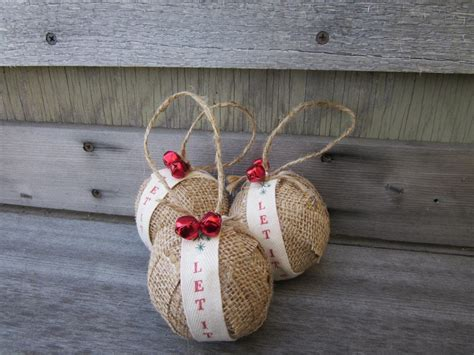 rustic christmas burlap ornaments jingle bells let it snow