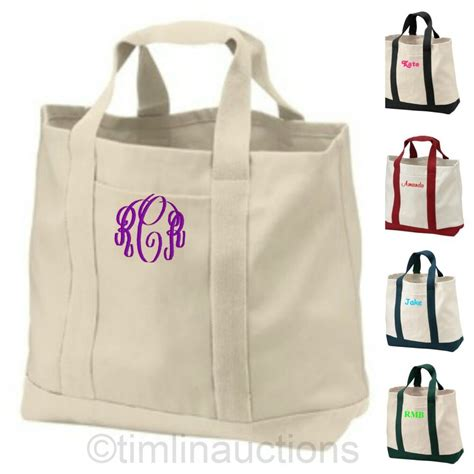 Embroidered Canvas Tote Bag embroidered canvas boat tote bag bridesmaid gift ebay