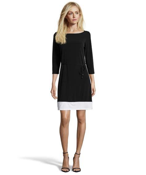 black and white color block dress tahari black and white stretch jersey color block dress in