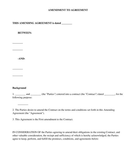 sle contract amendment template amendment to agreement free template word pdf