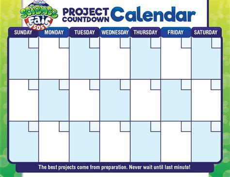 Fair Calendar Science Fair Project Calendar