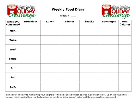 word food template search results for weekly food diary template calendar
