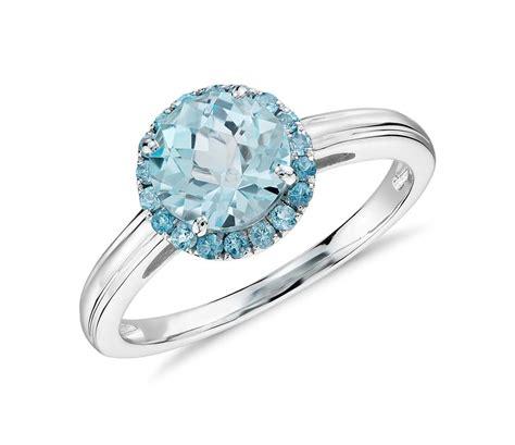 blue topaz halo ring in 14k white gold 7mm blue nile