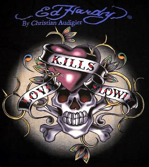 love kills slowly tattoo designs ed hardy kills slowly skull picturescafe ed