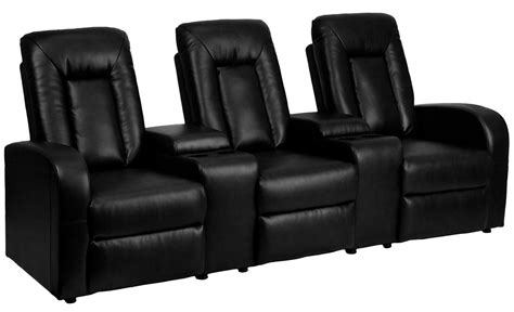 Black Leather Theater Recliner by Black Leather 3 Seat Home Theater Console Recliner From Renegade Coleman Furniture