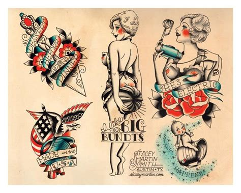 vintage tattoo design vintage foodie baking flapper flash print