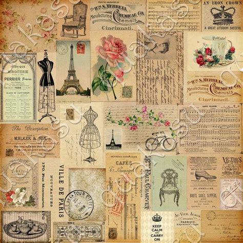 vintage ephemera digital paper pack digital paper