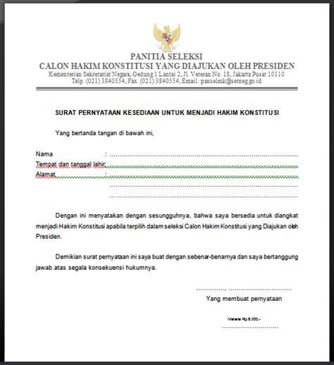 format surat pernyataan diunduh di laman pengumuman bapeten surat pernyataan kesediaan untuk menjadi hakim konstitusi