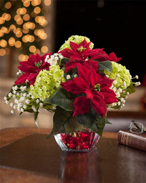 clear poinsetta holiday flower xmas lights mini poinsettia silk arrangement at officescapesdirect