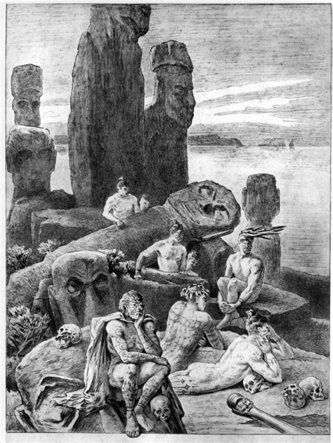 easter island images old drawings and paintings