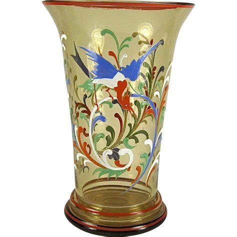 Bohemian Vase by Bohemian Enameled Glass Vase