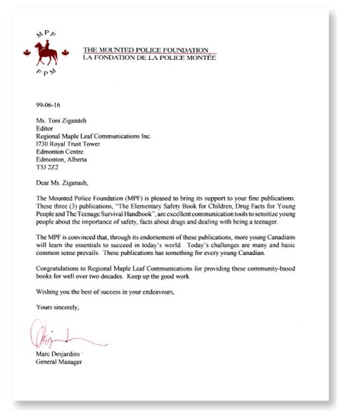 Endorsement Letter Position News Mpf Regional Maple Leaf Corp