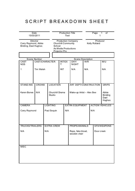 breakdown sheet template script breakdown sheet