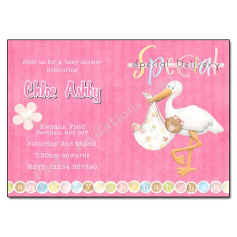 Stork Baby Shower Invitations Available In Blue Or Pink Stork Baby Shower Invitation Templates