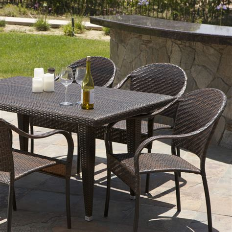Overstock Patio Dining Sets Christopher Home Pe Wicker 7 Outdoor Dining Set Contemporary Outdoor