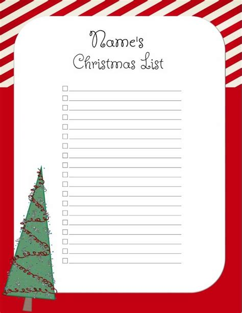 free christmas list template customize online print at
