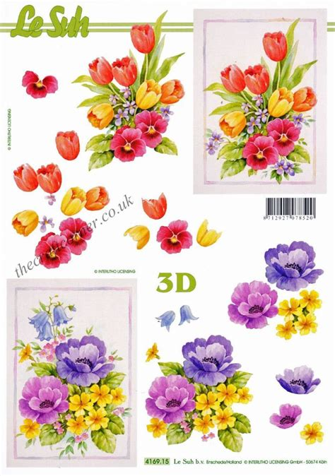 3d Decoupage Sheets - tulips pansy flowers 3d decoupage sheet