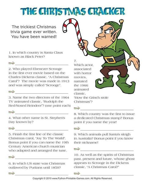 printable christmas games and trivia christmas cracker hard trivia 3 95 christmas