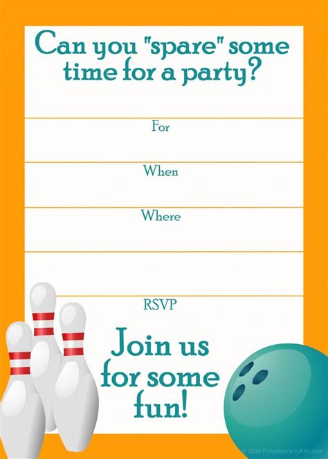 bowling birthday invitations free templates free printable sports birthday invitations templates