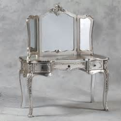 dressing table and mirror in antique silver