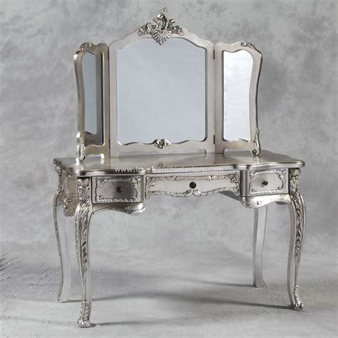 dressing table and triple mirror in antique silver