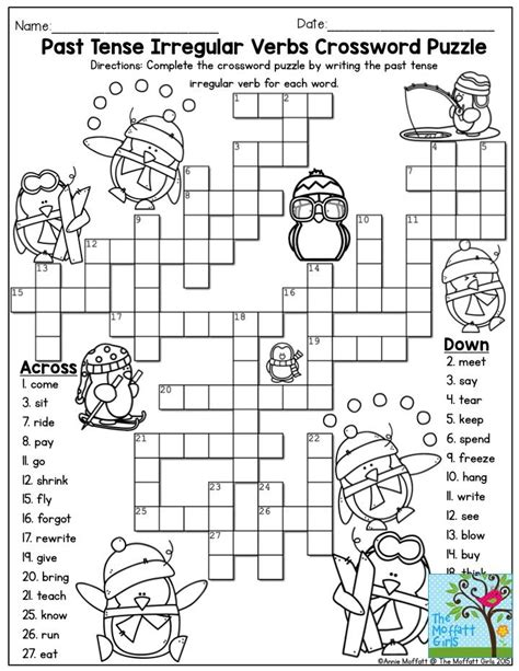 printable games irregular verbs past tense irregular verbs crossword puzzle such a fun
