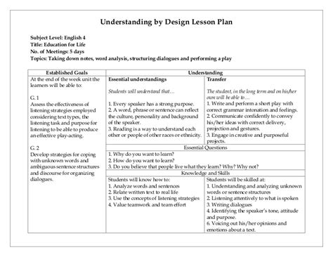 understanding by design unit plan template understanding by design lesson plan