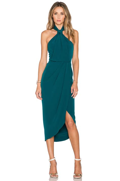 shona the pass knot draped dress in blue lyst