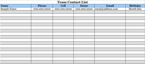 team contact list template team contact list template sle