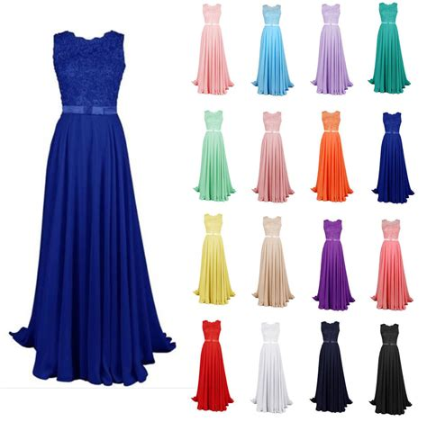long chiffon formal evening ball gown prom dress bridesmaid party new long lace bridesmaid formal ball gown party cocktail