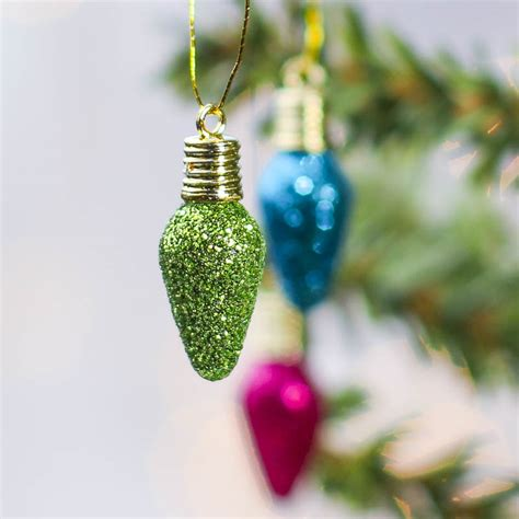 small bright glitter christmas bulb ornaments christmas