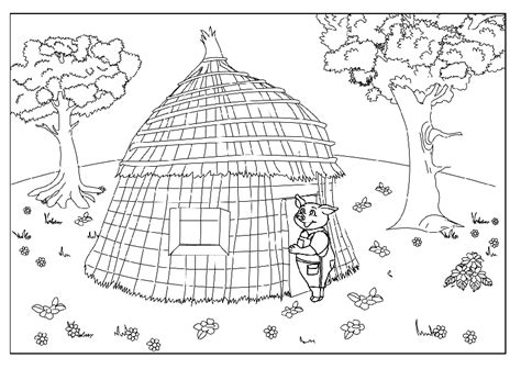 printable straw house three little pigs wolf coloring pages