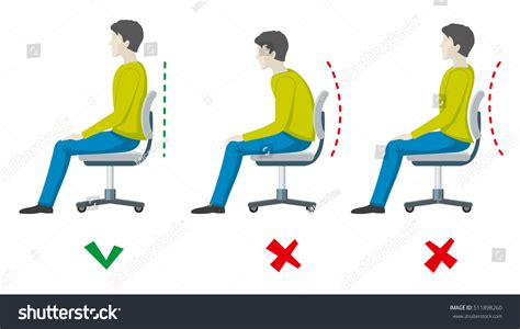 Good Posture At Desk Wrong Right Spine Sitting Posture Office Stock