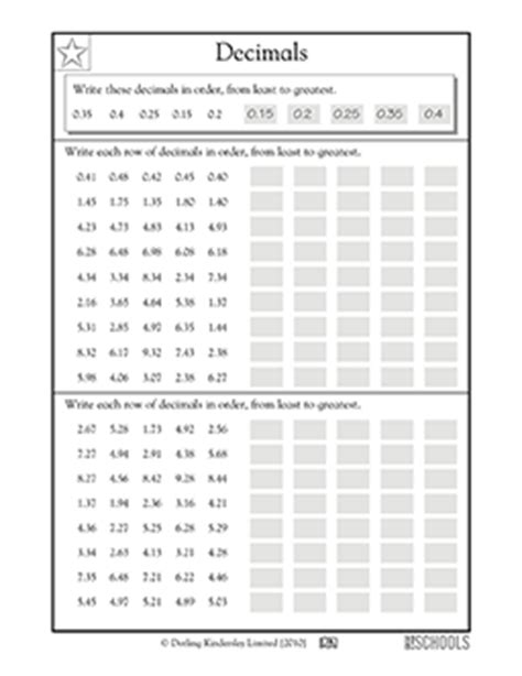 Least To Greatest Decimals Worksheet by 4th Grade Math Worksheets Ordering Decimals Greatschools