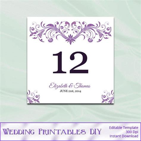 wedding table cards template purple table number template diy printable wedding table