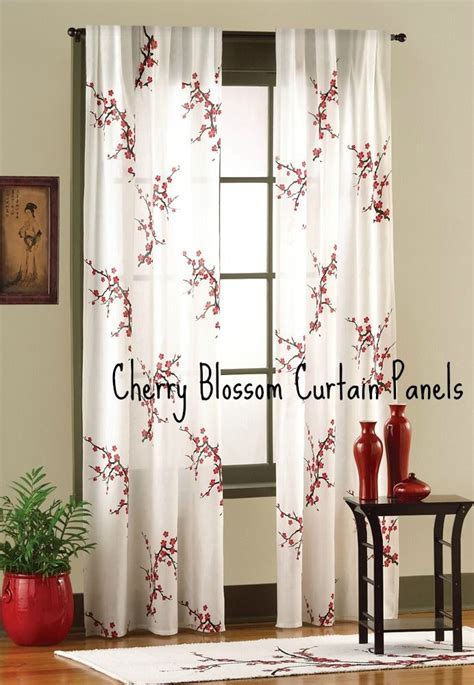 Cherry Blossom Curtains Cherry Blossom Curtain Panels Bedroom Decorating Curtain Panels Cherry Blossoms