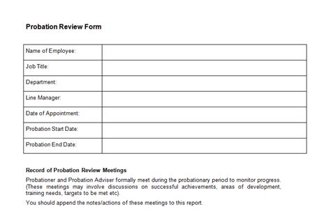 Probation Meeting Template employment templates page 6 of 18 bizorb