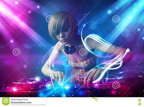 music video lighting effects mixing music with powerful light effects stock photo