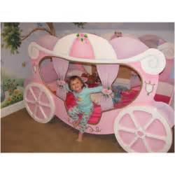 Toddler Carriage Bed Princess Cozy Pink Polished Cinderella Princess Bed With Wheel As