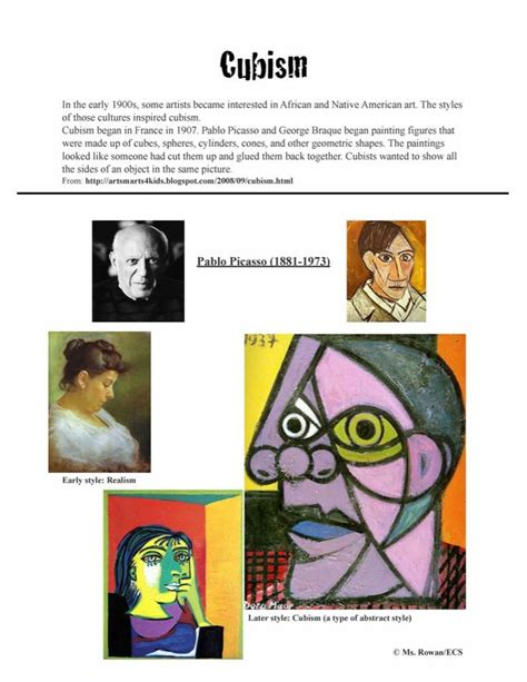 printable art history test 13 best images about pablo picasso lessons on pinterest