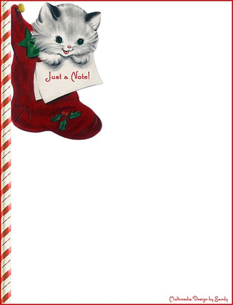 printable christmas kittens christmas cat note stationery for free printable size go