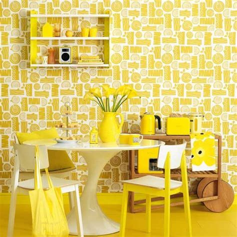 yellow room retro style bright yellow dining room sunshine yellow