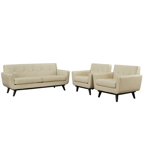 beige leather sofa set modway engage 3 piece leather sofa set in beige eei 1762