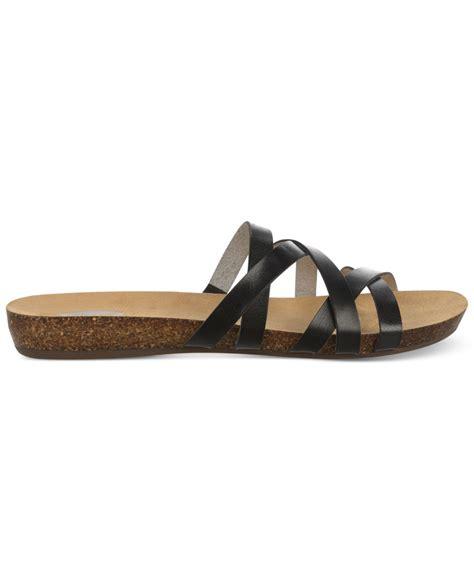 dr scholls sandals lyst dr scholls ruth footbed slide sandals in black