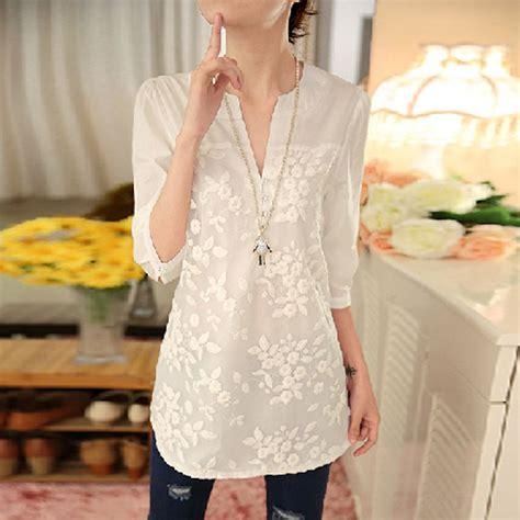 Blouse Korean V 2016 new summer korean blouse flower print blouse v