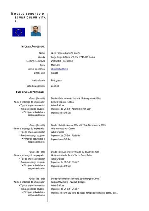 Modelo Cv Europeo Doc Modelo Europeu De Curriculum Vitae 2 3 Doc Final