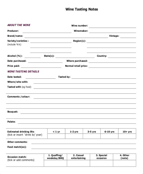 wine tasting sheet template 21 note template free premium templates